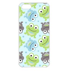 Frog Green Apple iPhone 5 Seamless Case (White)