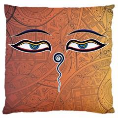 Face Eye Large Flano Cushion Case (Two Sides)