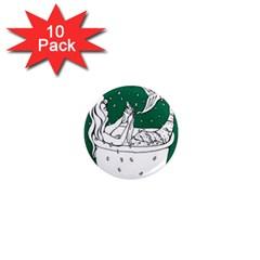 Green Mermaid 1  Mini Magnet (10 pack)