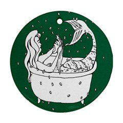 Green Mermaid Round Ornament (Two Sides)