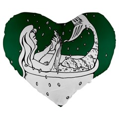 Green Mermaid Large 19  Premium Heart Shape Cushions