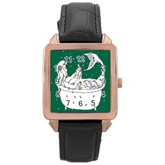 Green Mermaid Rose Gold Leather Watch