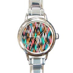Background Pattern Abstract Triangle Round Italian Charm Watch