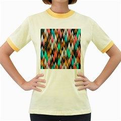 Background Pattern Abstract Triangle Women s Fitted Ringer T-Shirts