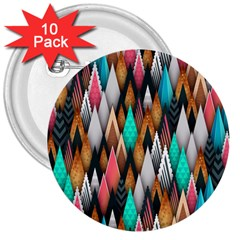 Background Pattern Abstract Triangle 3  Buttons (10 pack)