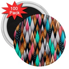 Background Pattern Abstract Triangle 3  Magnets (100 pack)