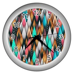Background Pattern Abstract Triangle Wall Clocks (Silver)