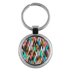 Background Pattern Abstract Triangle Key Chains (Round)