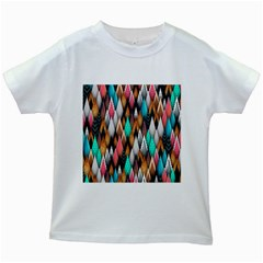 Background Pattern Abstract Triangle Kids White T-Shirts