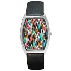 Background Pattern Abstract Triangle Barrel Style Metal Watch