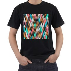 Background Pattern Abstract Triangle Men s T-Shirt (Black) (Two Sided)