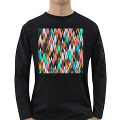 Background Pattern Abstract Triangle Long Sleeve Dark T-Shirts