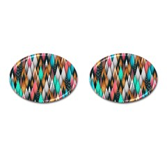 Background Pattern Abstract Triangle Cufflinks (Oval)