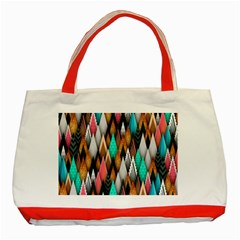 Background Pattern Abstract Triangle Classic Tote Bag (Red)