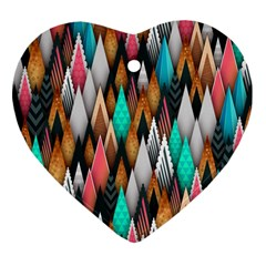 Background Pattern Abstract Triangle Heart Ornament (2 Sides)