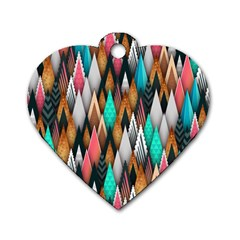 Background Pattern Abstract Triangle Dog Tag Heart (Two Sides)