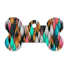 Background Pattern Abstract Triangle Dog Tag Bone (One Side)
