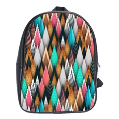 Background Pattern Abstract Triangle School Bags(Large)