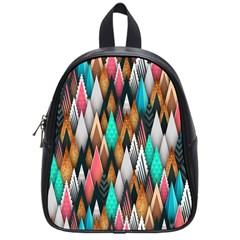 Background Pattern Abstract Triangle School Bags (Small)