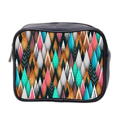 Background Pattern Abstract Triangle Mini Toiletries Bag 2-Side