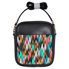 Background Pattern Abstract Triangle Girls Sling Bags