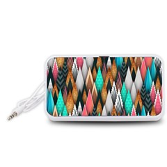 Background Pattern Abstract Triangle Portable Speaker (White)