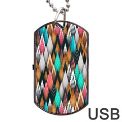 Background Pattern Abstract Triangle Dog Tag USB Flash (Two Sides)