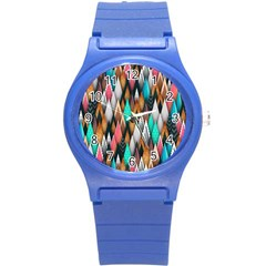 Background Pattern Abstract Triangle Round Plastic Sport Watch (S)