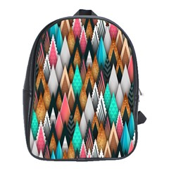 Background Pattern Abstract Triangle School Bags (XL)