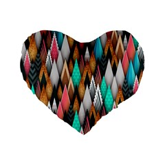 Background Pattern Abstract Triangle Standard 16  Premium Heart Shape Cushions