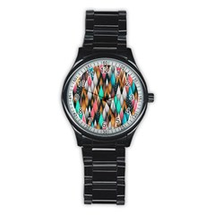 Background Pattern Abstract Triangle Stainless Steel Round Watch