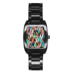 Background Pattern Abstract Triangle Stainless Steel Barrel Watch