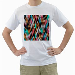 Background Pattern Abstract Triangle Men s T-Shirt (White)