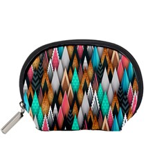 Background Pattern Abstract Triangle Accessory Pouches (Small)