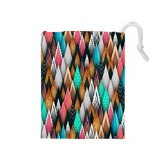 Background Pattern Abstract Triangle Drawstring Pouches (Medium)