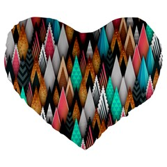Background Pattern Abstract Triangle Large 19  Premium Flano Heart Shape Cushions