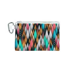Background Pattern Abstract Triangle Canvas Cosmetic Bag (S)