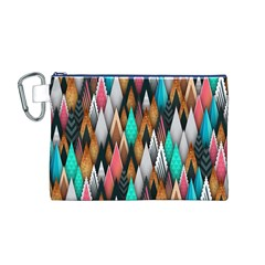 Background Pattern Abstract Triangle Canvas Cosmetic Bag (M)