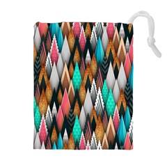 Background Pattern Abstract Triangle Drawstring Pouches (Extra Large)