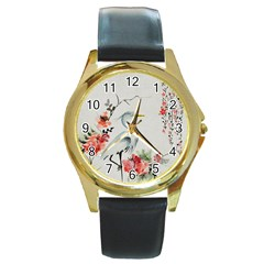 Background Scrapbook Paper Asian Round Gold Metal Watch