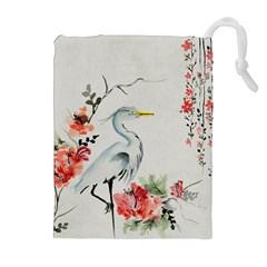 Background Scrapbook Paper Asian Drawstring Pouches (Extra Large)