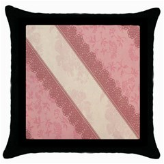 Background Pink Great Floral Design Throw Pillow Case (Black)