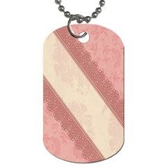 Background Pink Great Floral Design Dog Tag (Two Sides)