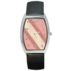 Background Pink Great Floral Design Barrel Style Metal Watch