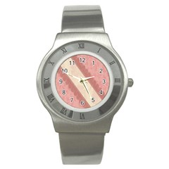 Background Pink Great Floral Design Stainless Steel Watch