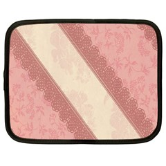 Background Pink Great Floral Design Netbook Case (Large)