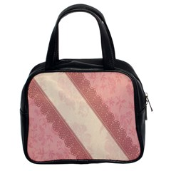 Background Pink Great Floral Design Classic Handbags (2 Sides)
