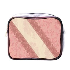 Background Pink Great Floral Design Mini Toiletries Bags