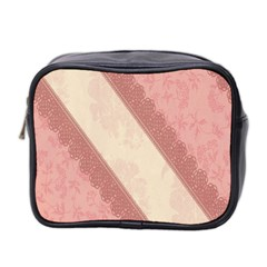 Background Pink Great Floral Design Mini Toiletries Bag 2-Side
