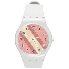 Background Pink Great Floral Design Round Plastic Sport Watch (M)